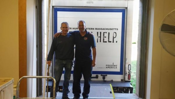 Weymouth's Warehouse Manager, Harvey, with their regular GBFB driver, Jim. Jim's been delivering to them for many years.