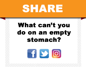 Plate Cutout - tell us what you can't do on an empty stomach.