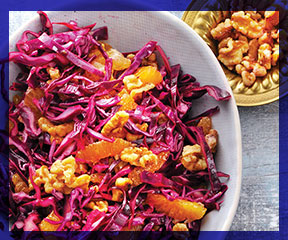 Red cabbage, walnut, and orange slaw