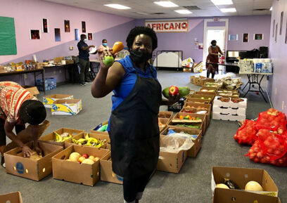 Africano Waltham sorting food for delivery